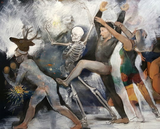 "Mad Dance by Joel Coplin, 48 x 60"" oil on linen 2017."