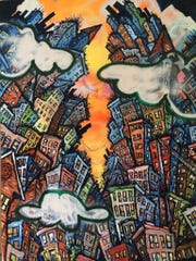 Deconstructing # 6 by Chris Boyd, mixed media on canvas.