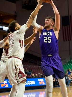 Mar 10, 2018; Las Vegas, NV, USA; Grand Canyon Antelopes forward Alessandro Lever (25) shoots the ball against the New Mexico State Aggies during the first half of the WAC Basketball Championship at Orleans Arena. Daniel Clark-USA TODAY Sports