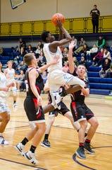Richmond High School forward Daveyon Henderson (5) jumps for a shot during their SC4 Holiday Basketball Showcase game against Sandusky High School Friday, Dec. 28, 2018 at the SC4 Fieldhouse.