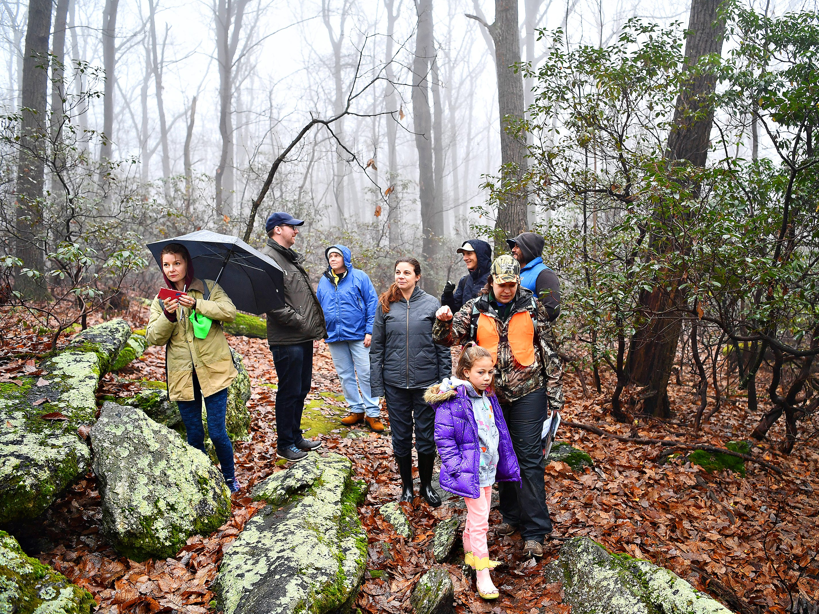 Naturalist Kelsey Frey leads a Marshmallow Hike at Rocky Ridge Park in Springettsbury Township, Friday, Dec. 28, 2018. Dawn J. Sagert photo