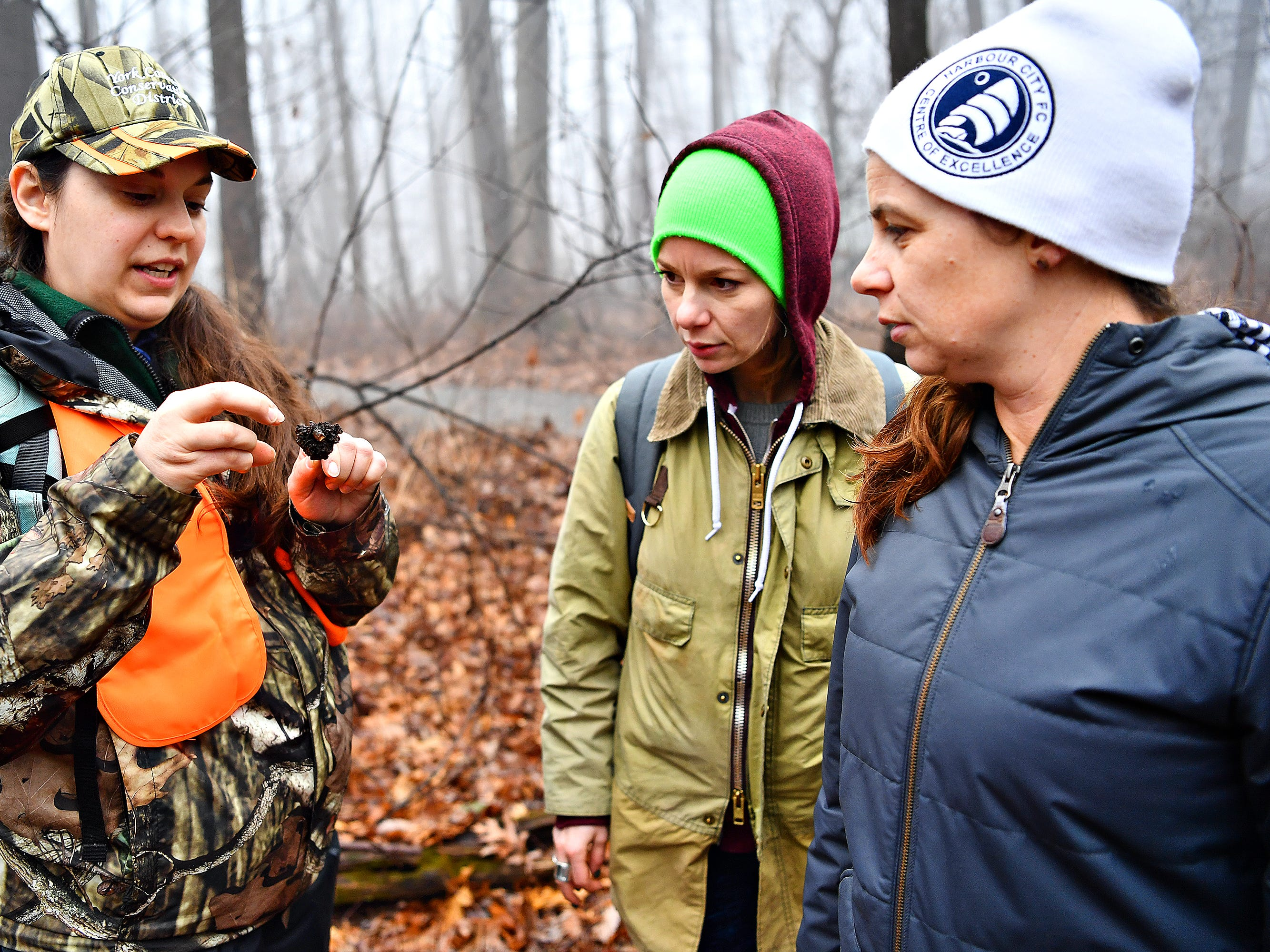 From left, York County Parks Naturalist Kelsey Frey talks about an insect gall while sisters Melanie Butler, of Lancaster, and Tiffany Butler, of Yucatan, Mexico, look on  during a Marshmallow Hike at Rocky Ridge Park in Springettsbury Township, Friday, Dec. 28, 2018. Dawn J. Sagert photo