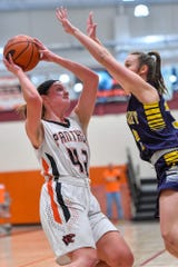 Central York's Emily Prowell, seen at left in a file photo, scored 46 points in two games over the weekend to help the Panthers win their own holiday tournament title.