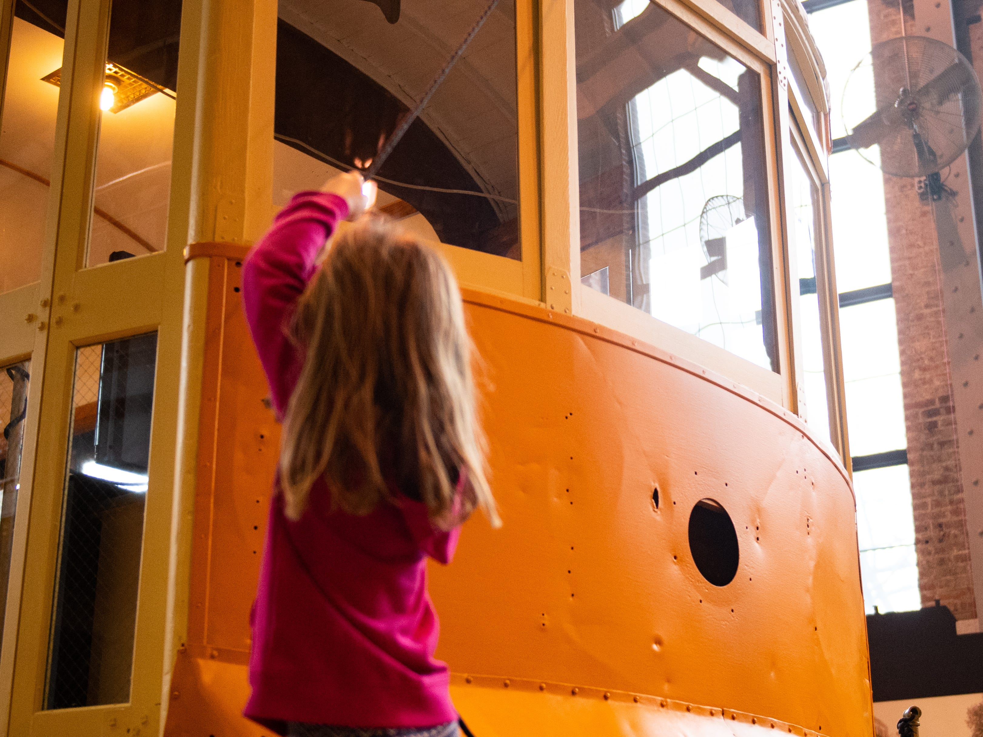 Children can see how a cable car works during family activity day at the Agricultural and Industrial Museum, Friday, December 28, 2018.