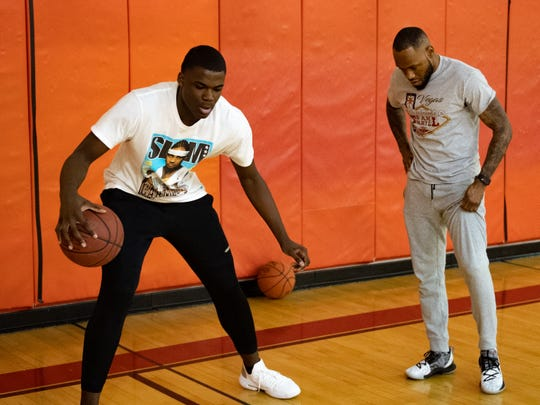 Jarace Walker (left) went through many intense workouts, with Mookie Dobbins (right), that worked on important aspects of his game, December 27, 2018.