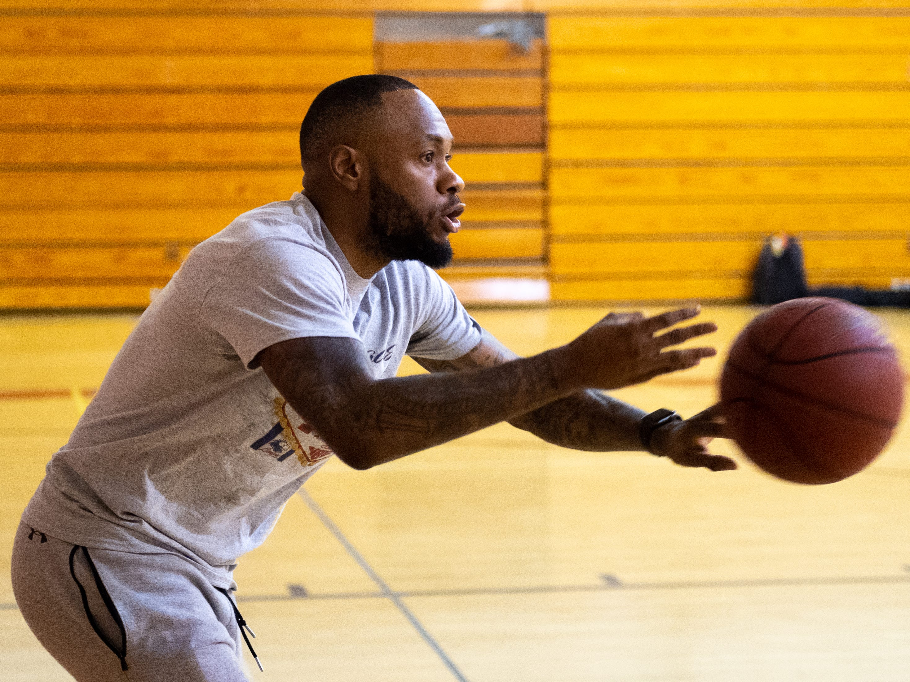 Mookie Dobbins didn't hesitate to point out small details that Jarace Walker was forgetting during the workout at Susquehannock High School, December 27, 2018.