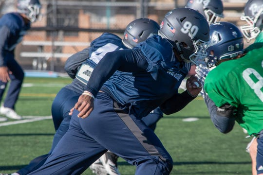 Nevada linebacker Malik Reed, shown at Friday's practice, is the Wolf Pack's defensive leader.