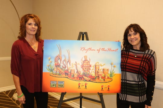 Nancy Ponte, left, and Janis Drexler both stand next to an illustration of the 2019 Donor Life Rose Parade Float. A portrait of Ponte's daughter, Haylee, will be featured on the float at the Tournament of Roses Parade on Jan. 1, 2019.