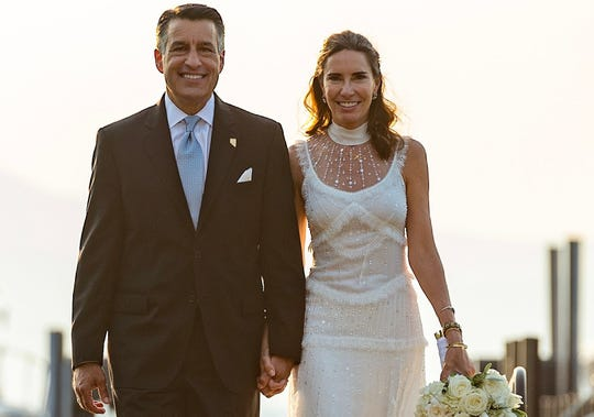 Gov. Brian Sandoval and Lauralyn McCarthy at their wedding ceremony at Lake Tahoe.