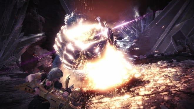 """The Kjarr Blitz """"Thunder"""" light bowgun vs. a high-rank Dodogama."""