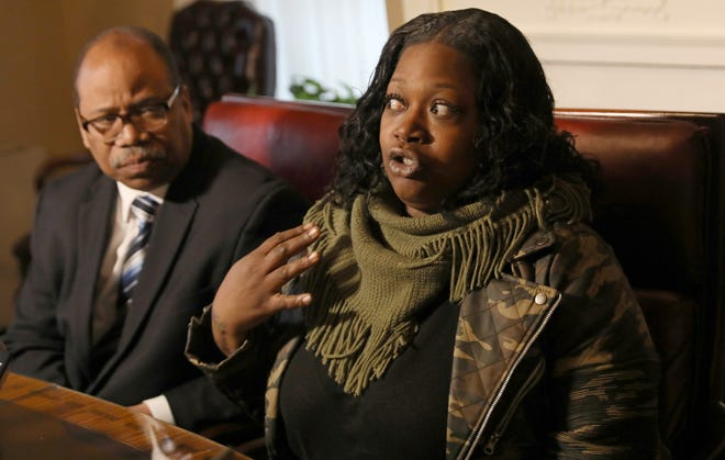 Lucrecia Maddox talks about the alleged assault on her son by the Rochester Police Department and the lawsuit she is filing with her attorney Van White, Friday Dec. 28, 2018 at attorney White's Rochester office.