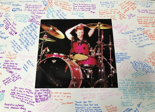 A photo mat was signed by well-wishers who attended a memorial to 2015 Foothill High School graduate Sarah Papenheim who was slain in December in the Netherlands.