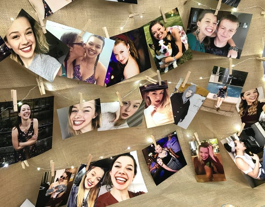 Slain college student Sarah Papenheim was remembered in photographs during a memorial Thursday night at Foothill High School where she graduated in 2015.
