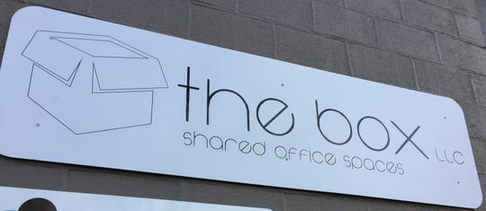The sign for The Box, a shared office space in Stayton.