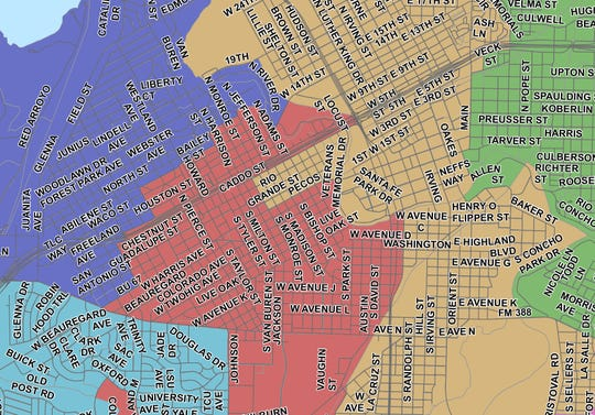 San Angelo ISD boundary map revised Dec. 17, 2018. Single-Member District 6 (Yellow) / Single-Member District 3 (Red)