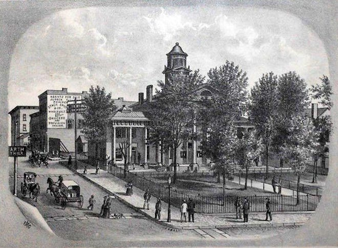 19th century engraving of the old Augusta County Courthouse, where James H. Skinner and John T. Harris battled it out over the question of union versus secession in 1861.