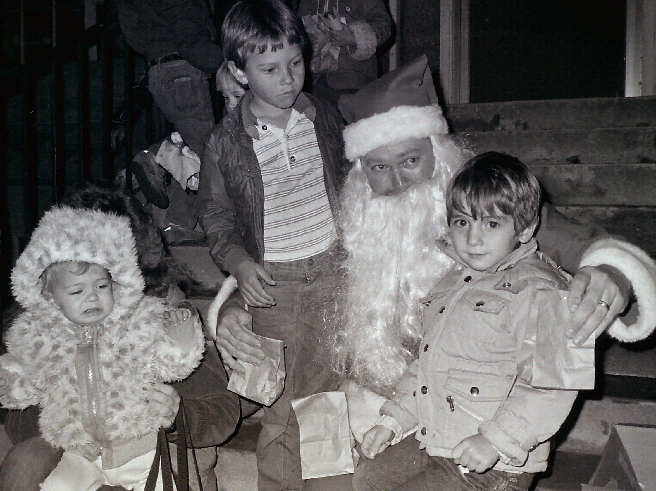 Holiday street lighting circa 1985.