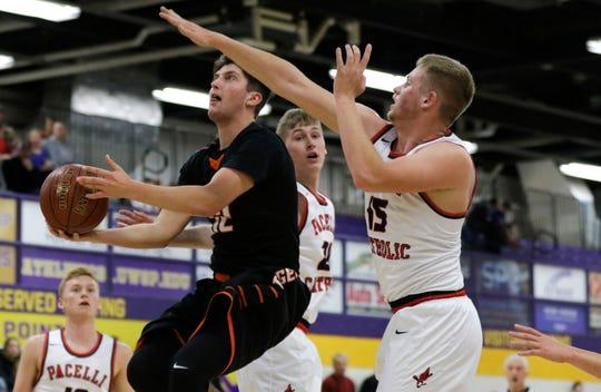 Stratford's Branden Ackley (12) goes up for a layup against Pacelli during the 47th annual Sentry Classic on Thursday, December 27, 2018, at Quandt Fieldhouse in Stevens Point, Wis.