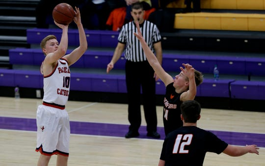 Pacelli's Nathan Helms (10) shoots a 3-pointer against Stratford during the 47th annual Sentry Classic on Thursday, December 27, 2018, at Quandt Fieldhouse in Stevens Point, Wis.