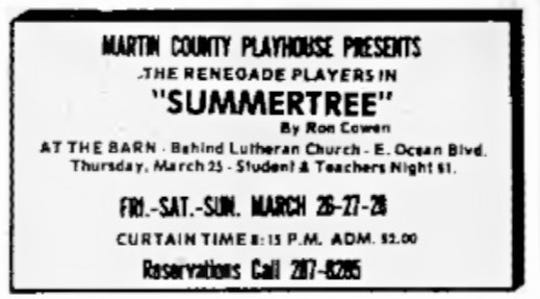 The program for the Renegade Players in March 1971 at The Barn.