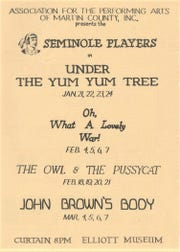 The program for the Seminole Players featuring three of their plays Jan-March 1971.
