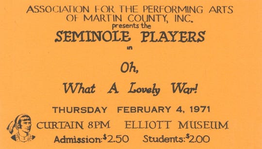 """Ticket to """"What a Lovely War!"""" in Feb. 1971."""