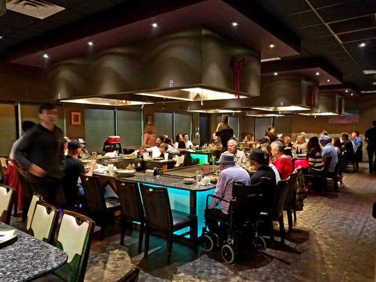 Fujiyama Japanese Steakhouse & Sushi Lounge's hibachi table accommodates 10  guests.