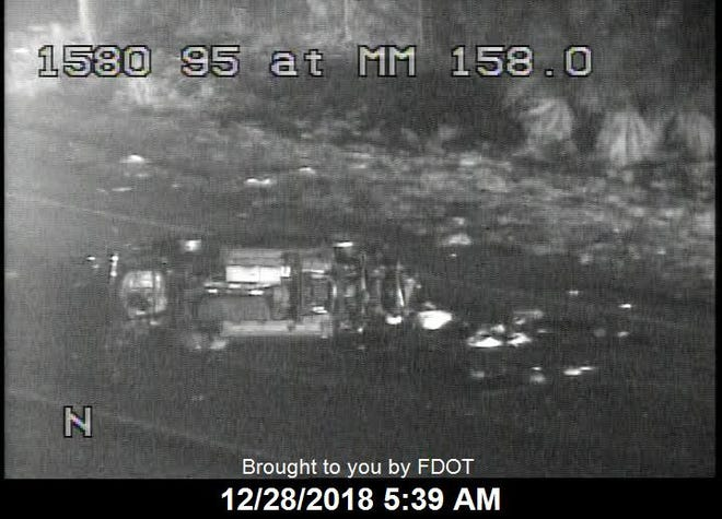 Northbound lanes on Interstate 95 were closed after a crash with injuries Dec. 28, 2018.