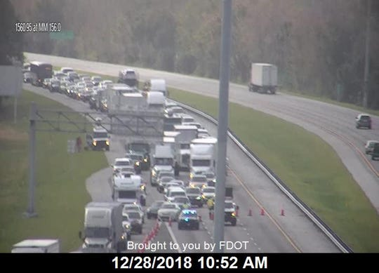 Motorists are being diverted off I-95 at County Road 512 after an early-morning crash in Fellsmere Dec. 28, 2018.