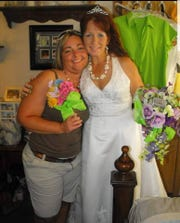 Bambi Durno (left) and Judy Mounts (right) on Mounts' wedding day in 2012.