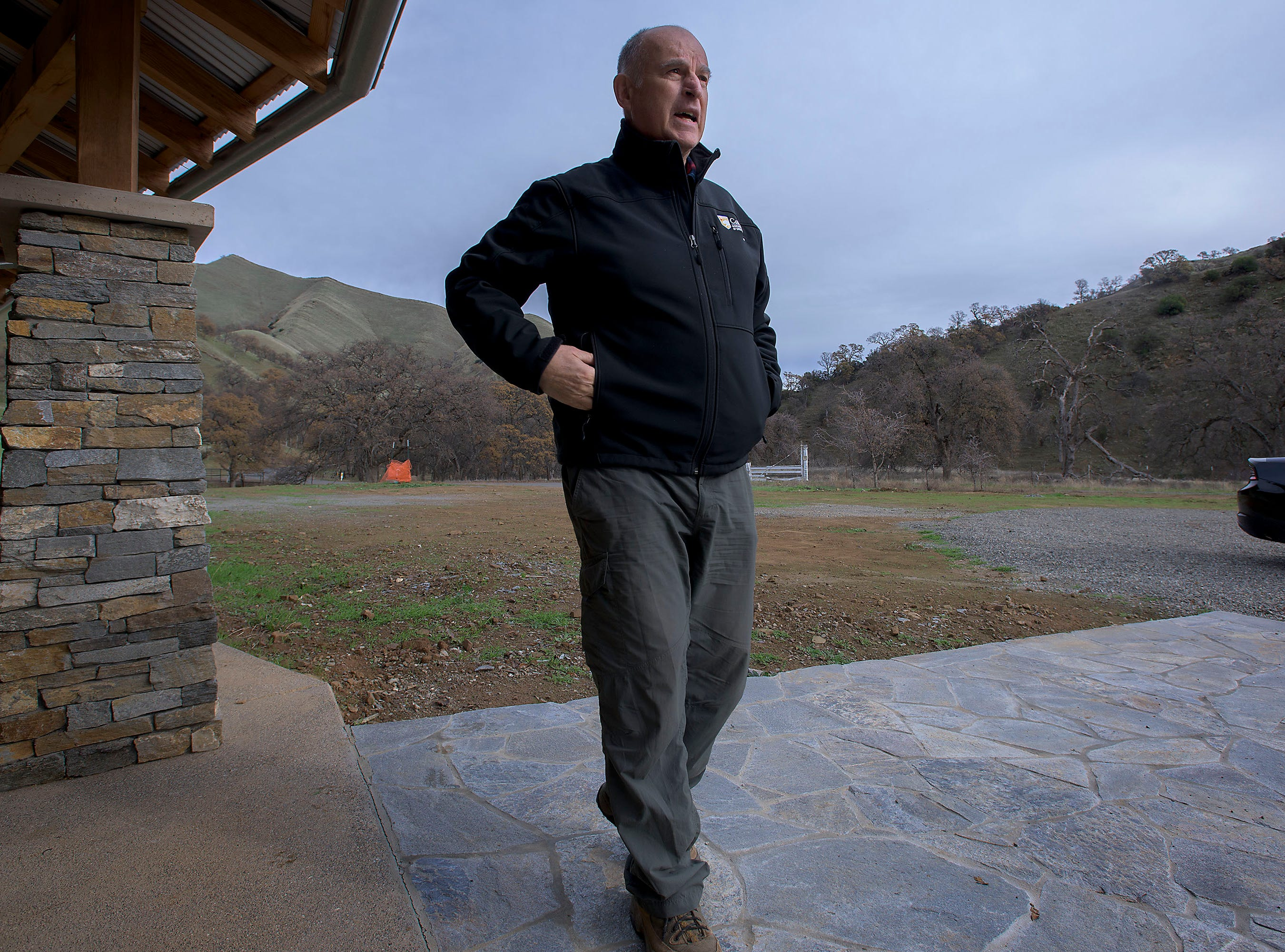 California Gov. Jerry Brown at his ranch home near Williams  on Dec. 22. The Colusa County property once belonged to his great-grandfather.