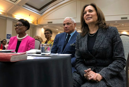 In this Nov. 17 photo, Sen. Kamala Harris, a California Democrat, and possible 2020 presidential candidate, and then Mississippi Democratic Senate candidate Mike Espy, attend an event in Jackson, Miss. California has moved up its primary in the hopes of getting some love from candidates along with the traditional quartet of early states, Iowa, New Hampshire, South Carolina and Nevada.