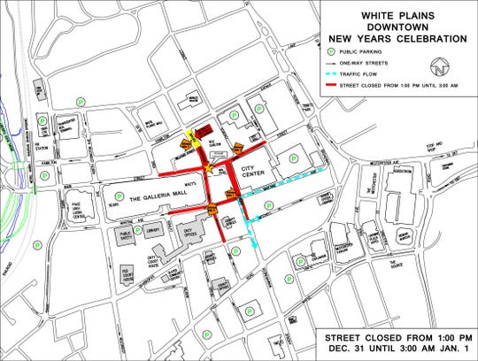 White Plains New Year's Eve Spectacular map.