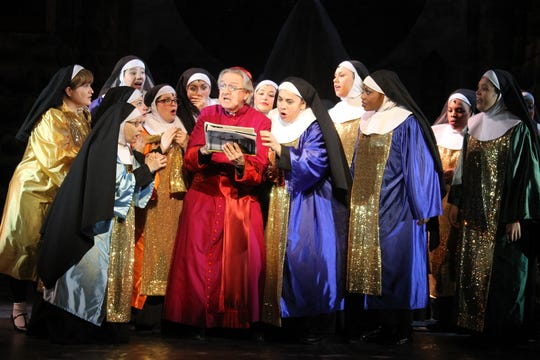 """Dick Nagle, as Monsignor O'Hara, in the 2016 production of """"Sister Act"""" at the White Plains Performing Arts Center. Nagle, a man of theater who graced stages across the Lower Hudson Valley for decades, died Thursday. He was 77."""