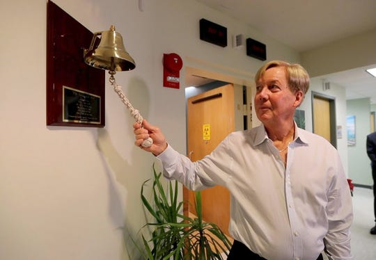 Clifford Nyman of Eastchester rings a bell in the Radiation Oncology department at Good Samaritan Hospital in Suffern to symbolize the completion of his treatment for prostate cancer Jan. 28, 2018. The bell was donated by Isabella Spar, 15, of Ardsley, who created Project Bell for her bat mitzvah community service project when she was 13. Isabella was motivated to create Project Bell after her mother was treated at Massachusetts General Hospital, where e they held a similar bell ringing ceremony. About 30 cancer patients at Good Samaritan have rung the bell after completing treatment over the past five months.