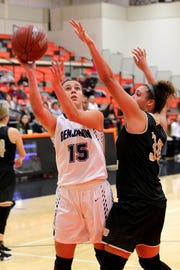 Benjamin's Alejuandra Juan shoot for the basket Friday as the Rider Raiders took on the Benjamin Lady Stangs  in the Union Square Lady Bulldog Christmas Classic in Burkburnett.