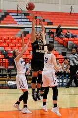 Rider's Addy Self Shoots over Benjamin Lady Stangs Temi Flowers (2) and Braleigh Blanchette(12) as Rider took on the Benjamin Lady Stangs    Friday in the Union Square Lady Bulldog Christmas Classic in Burkburnett.