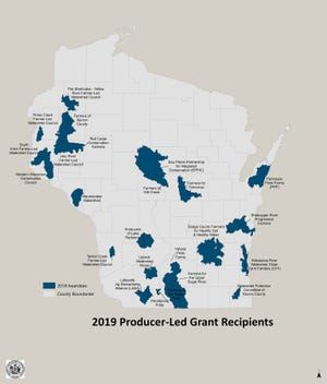 Producer-led projects receiving Watershed Protection Grants in the fourth round of funding are marked on this map.