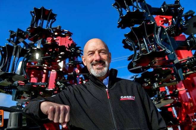 In this Dec. 5, 2018 photo, Case IH-Goodfield plant manager Brian Hansche, who helped lead the way as the company he has expanded with a $17 million investment to update their factory location poses for a photo at the factory in Goodfield, Ill. The plant manufactures tillage and fertilizer application equipment for customers across the world.