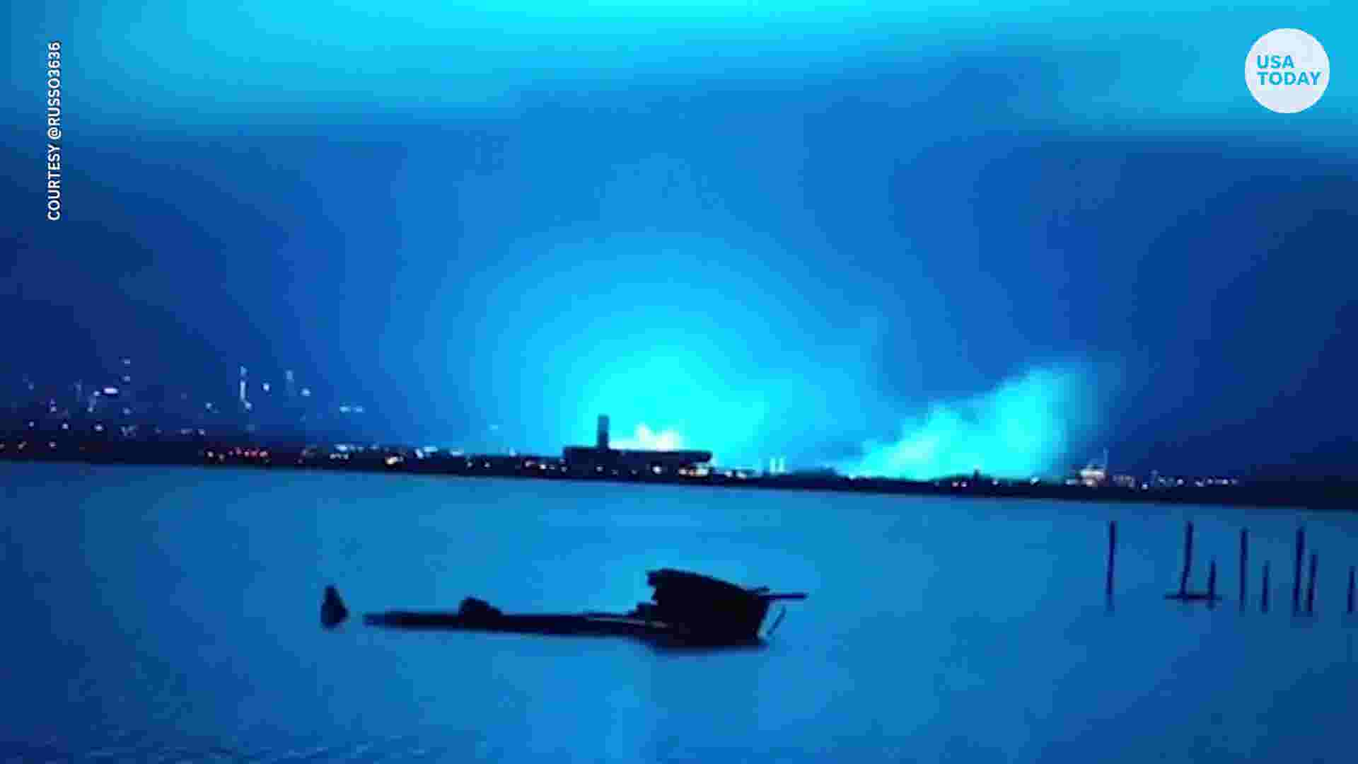 Power Plant Explosion Turns Nyc Night Sky Bright Blue