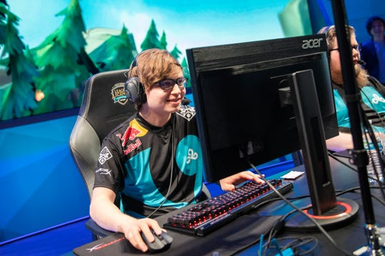 "Zachary ""Sneaky"" Scuderi playing ""League of Legends"" at the 2018 North America LCS Regional Qualifiers in Los Angeles, California."