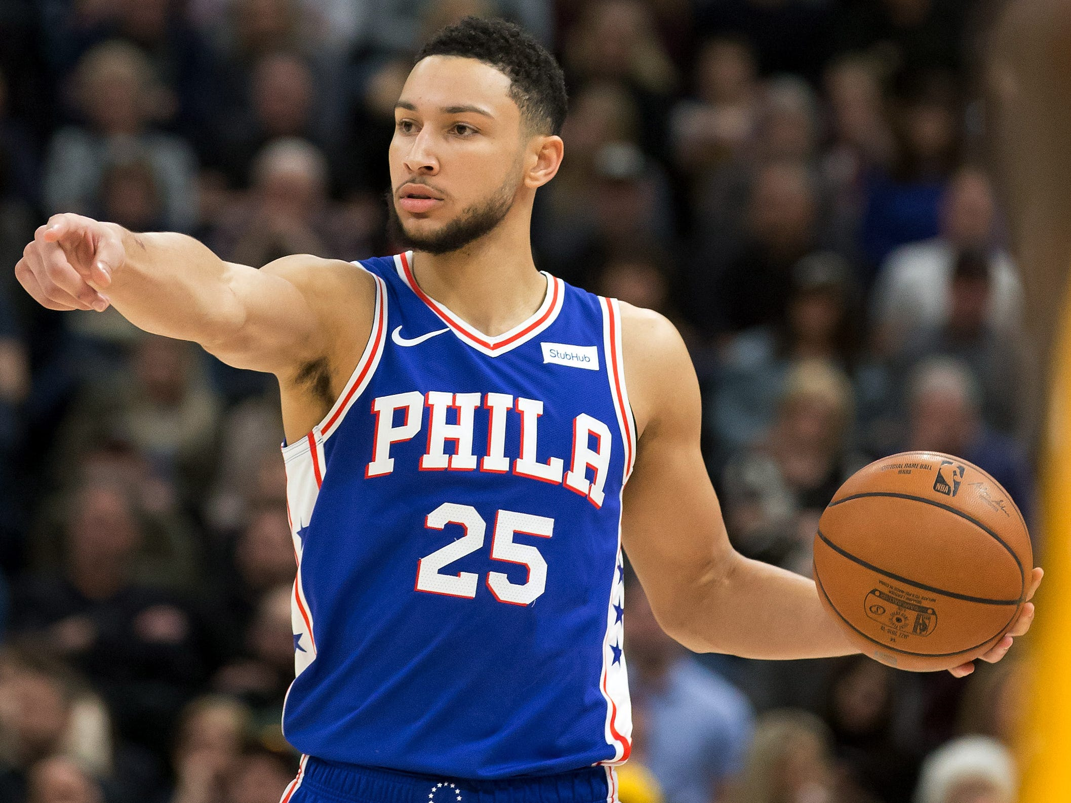 35. Ben Simmons, 76ers (Dec. 28): 14 points, 14 rebounds, 12 assist in 114-97 win over Jazz (fifth of season).