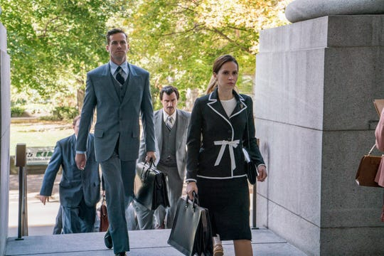 "Together, Marty (Armie Hammer, left) and Ruth Bader Ginsburg (Felicity Jones) argued and won the 1972 tax case ""Moritz v. Commissioner of Internal Revenue."""