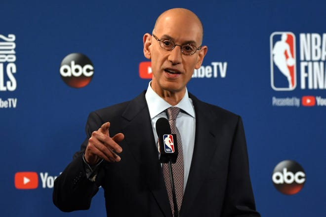 NBA commissioner Adam Silver speaks during a press conference before Game 1 of the 2018 NBA Finals between the Golden State Warriors and the Cleveland Cavaliers.
