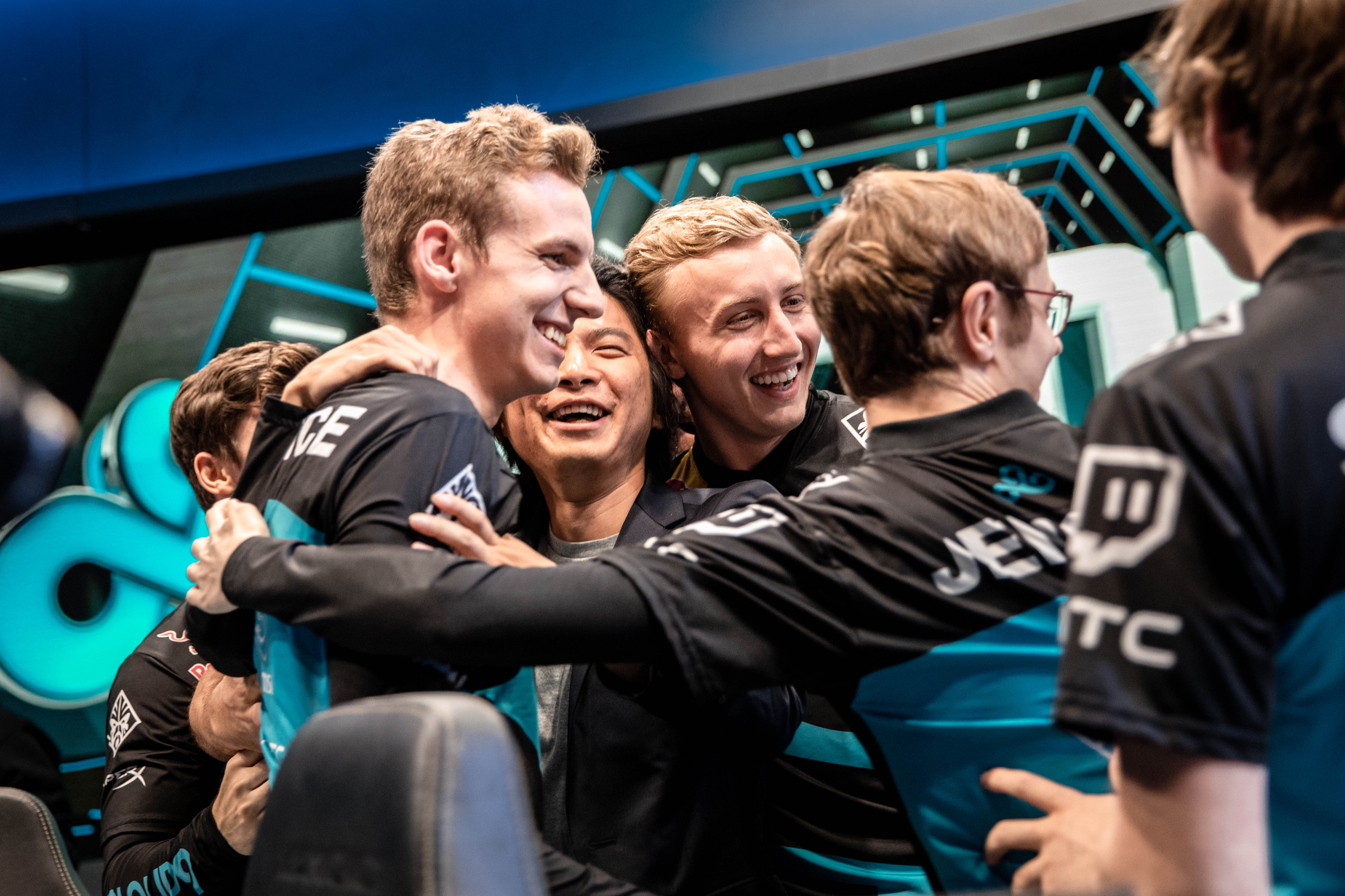 The Cloud 9 team celebrating during the 2018 North America LCS Regional Qualifiers in Los Angeles, California.