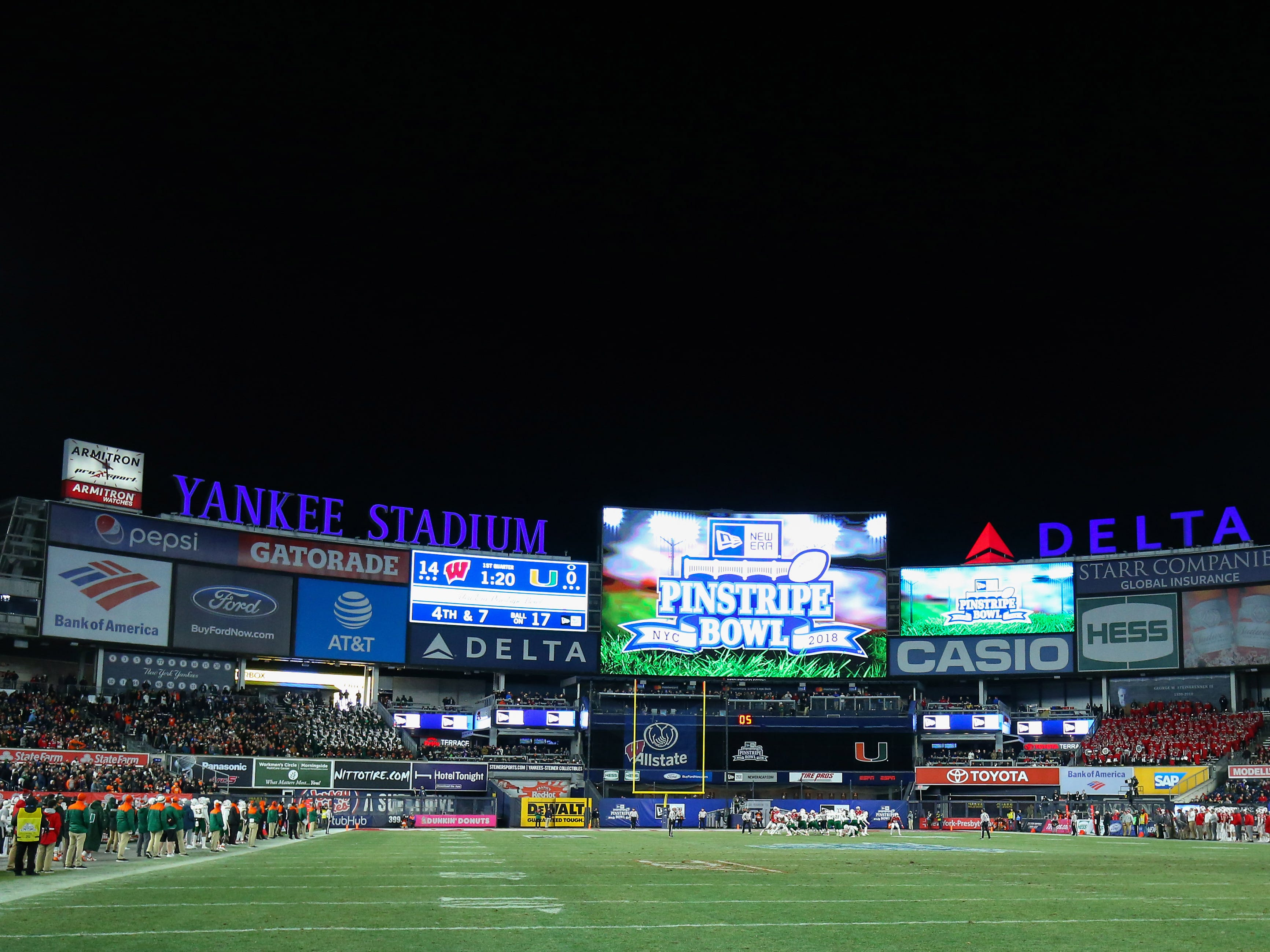 A general view of Yankee Stadium during the game between Miami and Wisconsin in the Pinstripe Bowl.