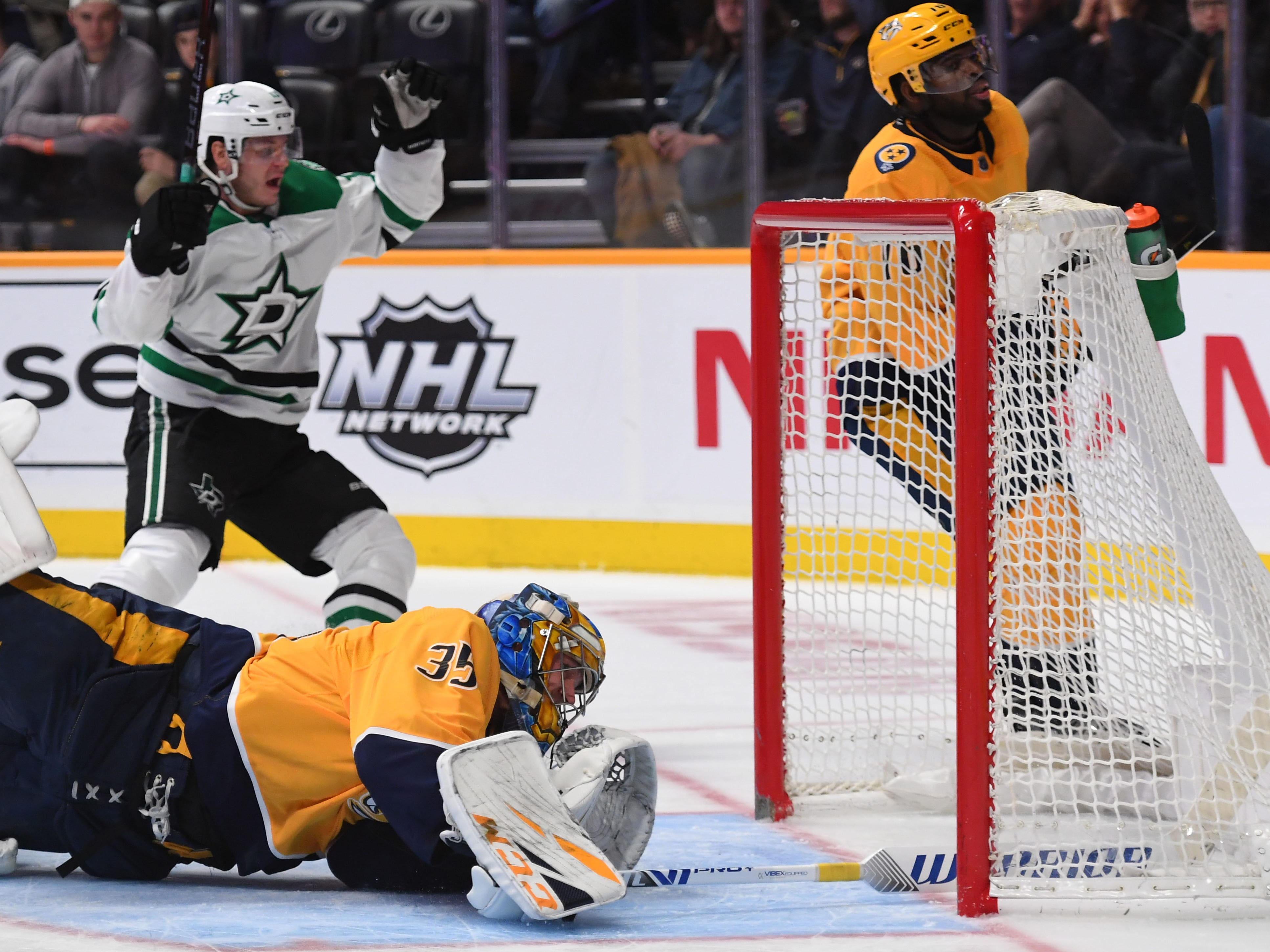 Dec. 27: Nashville Predators goaltender Pekka Rinne is unable to stop a slap shot from Dallas Stars center Mattias Janmark as it slides into the net