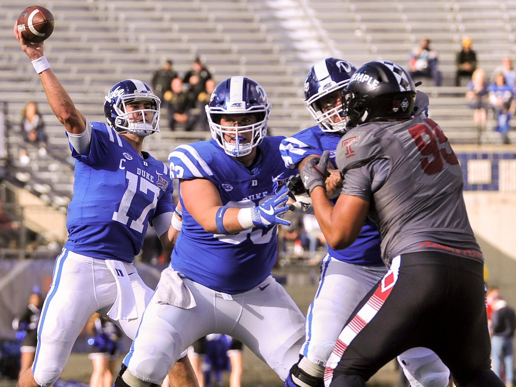 Duke quarterback Daniel Jones attempts a pass against Temple during the second half in the Independence Bowl. Jones threw for 423 yards and 5 TDs in Duke's 56-27 win.