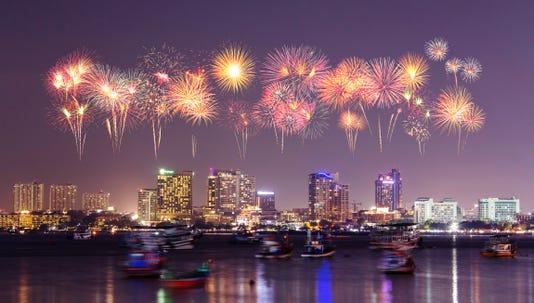 Firework Over Pattaya City Chonburi Thialand