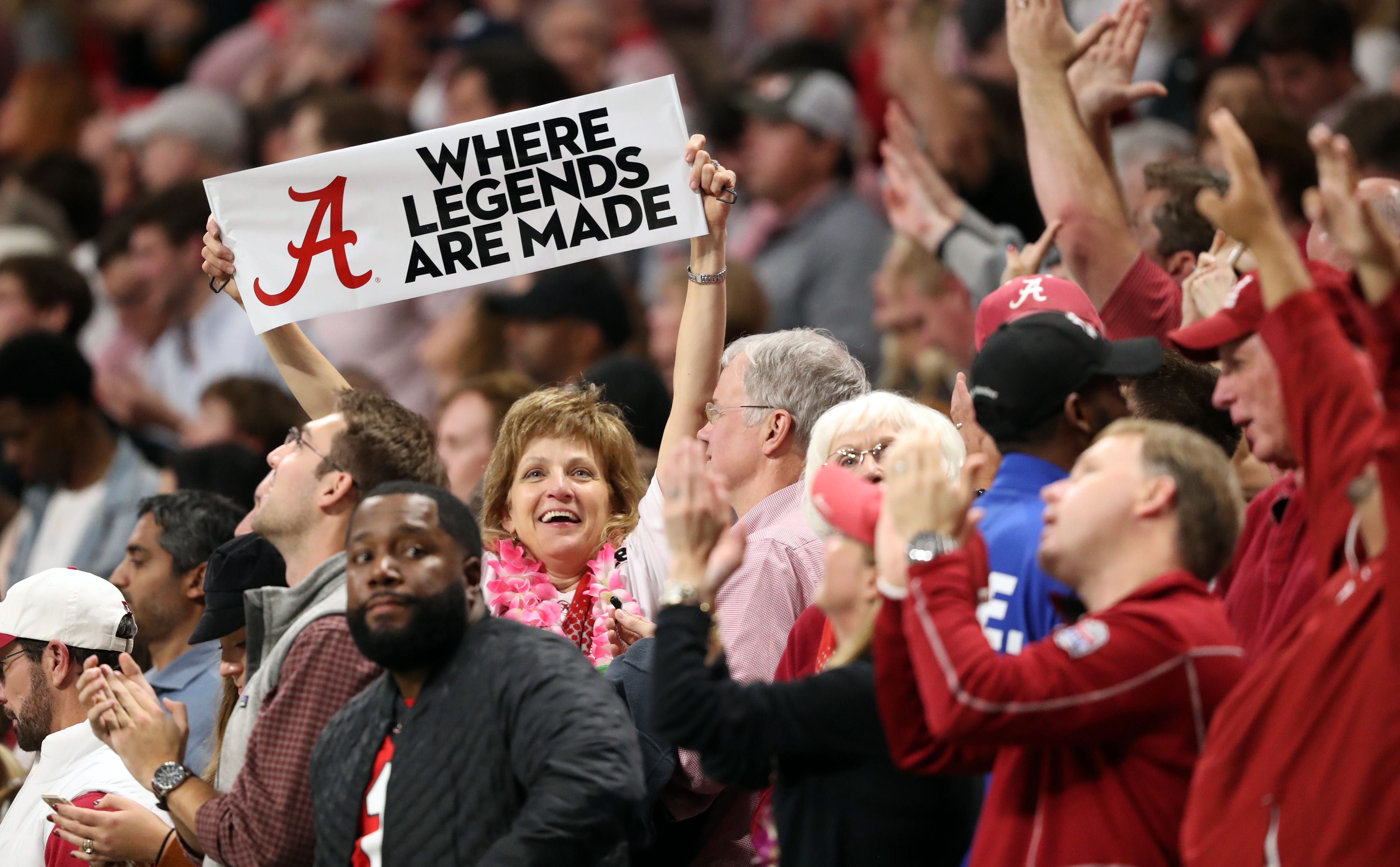 Alabama fans react during the fourth quarter the 2018 SEC championship game against Georgia.